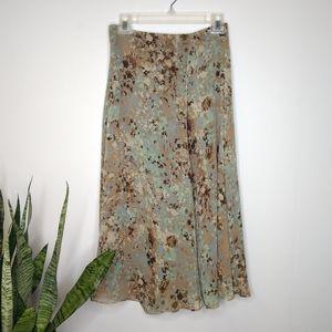 NWT Anne Klein blue/brown floral silk skirt size 2
